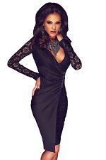 Womens Black Lace Long Sleeve Asymmetric Splice Evening Bodycon Midi Party Dress