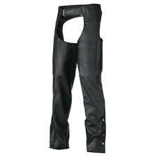 Classic Biker Leather Black Motorcycle Chaps