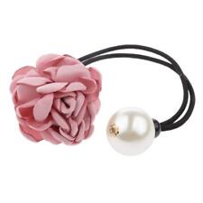 Girls Rose Flower Pearls Hairband Ponytail Holder Hair Band Headpieces