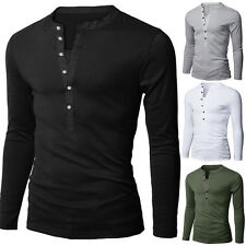 Casual Mens Long Sleeve V-neck Button Front Solid T-shirt Tops Tee Modern Fine