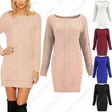 NEW LADIES CHUNKY CABLE KNIT JUMPER DRESS WOMENS TEXTURED KNITTED LONG WOOL TOP