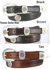 "TEXAS GOLD STAR STATE SEAL MEN'S  LEATHER CONCHO BELT 1 1/4 "" WIDE 3 COLORS NEW"