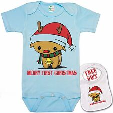 """ My first Christmas ""Cute Colorful xmas Baby bodysuit onesie & Matching Bib set"