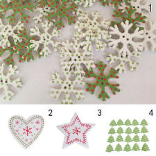 20pcs Christmas Tree Snowflake Wooden Buttons Sewing and Scrapbook JX