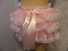 SISSY ADULT BABY PINK SATIN ORGANZA FRILLY DIAPER COVER PANTIE WATERPROOF OPTION