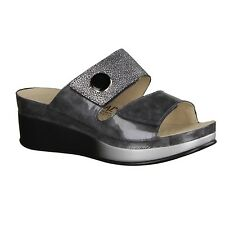 Ladies Mules Vital 1662-3119, Massage footbed, Grey/Silver, Leather, NEW