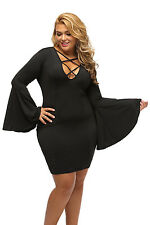 Plus Dress Sexy Chic Black Caged Strap Flare Bell Sleeves Cocktail Dress  14-18