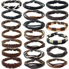 MENS REAL LEATHER SURF SURFER BRACELET WRISTBAND - Choose Your Style LBR