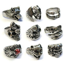 Men's Stainless Steel Big Skull Rings, Metal Gothic Biker Punk Ring 20+ styles