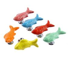 Ceramic Carp Shaped Cupboard Cabinet Knobs Door Drawer Furniture Handle Pull