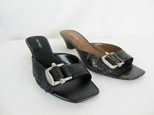 Nine West Zurilyn Leather Slide Sandal Kitten Heel Brown Black Buckle NEW NIB