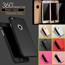 Hybrid 360° Hard Ultra thin Case+Tempered Glass Cover For iPhone 6 6s Plus