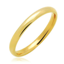 Men's 14K Yellow Gold 2mm Classic Domed Plain Wedding Band Ring / Gift Box