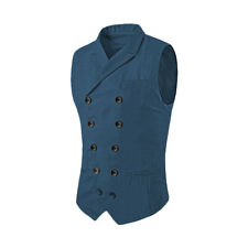 Men Peaked Lapel Double Breasted Buckled Back Vest
