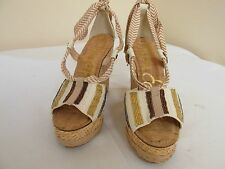 SAM EDELMAN TREY Metallic Cream Womens Designer Platform Ankle Tie Wedges