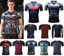 Men Superhero Marvel Compression T-Shirt Short Long Sleeve Gym Sport Cycling Tee
