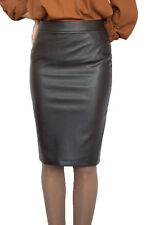 Casual Lined Pencil Bodycon Faux Leather Brown Skirt 8 10 12 14 16 18 20 22