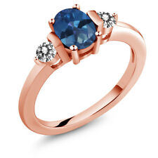 1.00 Ct Oval Blue Mystic Topaz White Diamond 18K Rose Gold Plated Silver Ring