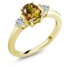 1.08 Ct Oval Mango Mystic Topaz White Topaz 14K Yellow Gold Ring