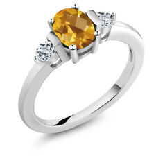 0.98 Ct Oval Checkerboard Yellow Citrine White Topaz 14K White Gold Ring