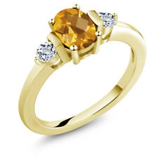 0.98 Ct Oval Checkerboard Yellow Citrine White Topaz 14K Yellow Gold Ring