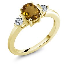 0.98 Ct Oval Whiskey Quartz White Topaz 18K Yellow Gold Plated Silver Ring
