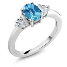 1.23 Ct Oval Checkerboard Swiss Blue Topaz White Topaz 925 Sterling Silver Ring