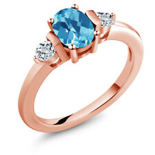 1.23 Ct Oval Checkerboard Swiss Blue Topaz White Topaz 18K Rose Gold Ring