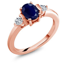 1.30 Ct Oval Blue Sapphire White Topaz 18K Rose Gold Plated Silver Ring