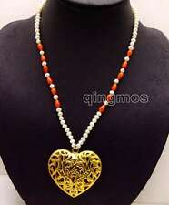 SALE 5-6mm Round White Pearl and Drop Coral 20'' necklace & Heart Pendant-ne6152