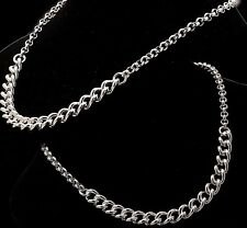"18"" Inch Hallmarked 925 Sterling Silver Womens Belcher Necklace Mens Curb Chain"
