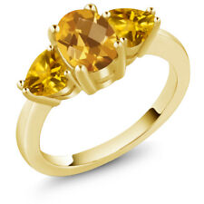 2.07 Ct Oval Checkerboard Yellow Citrine 18K Yellow Gold Plated Silver Ring