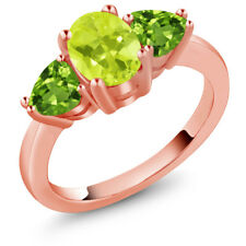 2.06 Ct Oval Yellow Lemon Quartz Green Peridot 18K Rose Gold Plated Silver Ring