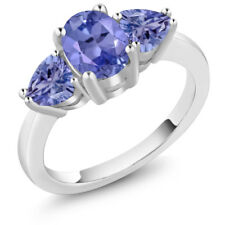1.96 Ct Oval Blue Tanzanite 925 Sterling Silver Ring