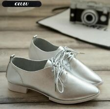 Women's Shoes Comfort Pointed Toe Flat Lace Up Oxford Low Heels flat cool [h]