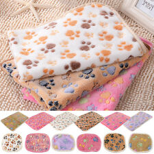 Cat Dog Puppy Soft Blanket Bed Cushion Pet Small Large Paw Print Coral cashmere