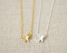 Silver or Gold Plated Butterfly Necklace Cute Tiny Small Pendant in Gift Bag/Box