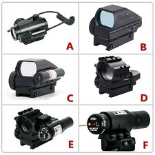 Tactical 1X Red/Green Dot Sight Scope W/ 20mm Rail Mount&Visible Red Dot Laser
