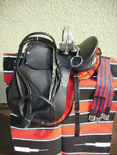 """17"""" NEW LEATHER CAMBRIDGE ENGLISH JUMP ALL PURPOSE SADDLE PACKAGE BLACK"""