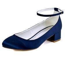 FC1613 Closed Toe Chunky Heel Ankle Strap Pumps Satin Evening Wedding Prom Shoes