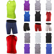 Mens Compression Base Layer Sports Athletic T-Shirts Top Tank Vest Shorts Bottom