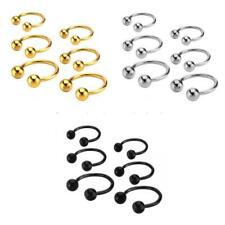 Stainless Steel Ball Horseshoe Bar Nose Ear Ring Body Piercing Jewelry 3 Sizes