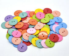 25pk Round Acrylic Buttons 22mm 2 hole Eleven Colours