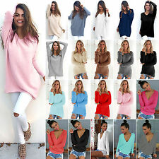 Womens Long Sleeve Oversized Casual Sweater Pullover Jumper Tops T Shirt Blouse