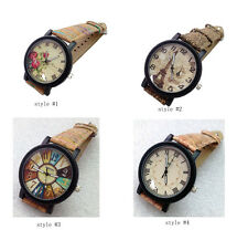 Fashion Dress Watch Retro Quartz Watch with Wood Grain Leather Band for Lady
