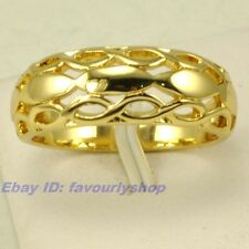 SIZE 5#,6# RING ELEGANT WOVEN STYLE 18K YELLOW GOLD PLATED SOLID FILL GEP 4948r
