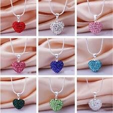 Jewelry Chain Crystal Pendant Silver Plated Necklace Heart