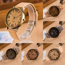 Vintage Casual Leather Strap Wristwatch Quartz Analog Wooden