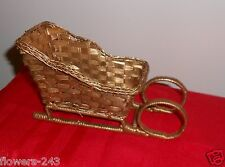 VINTAGE GOLD WICKER SANTA CHRISTMAS SLEIGH SNOW SLEIGH