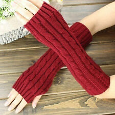 Pop Women Men's Gloves Arm Warmer Long Fingerless knit Mitten Winter Gloves Pair